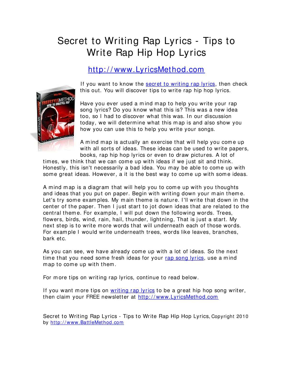 Calaméo - Secret to Writing Rap Lyrics - Tips to Write Rap