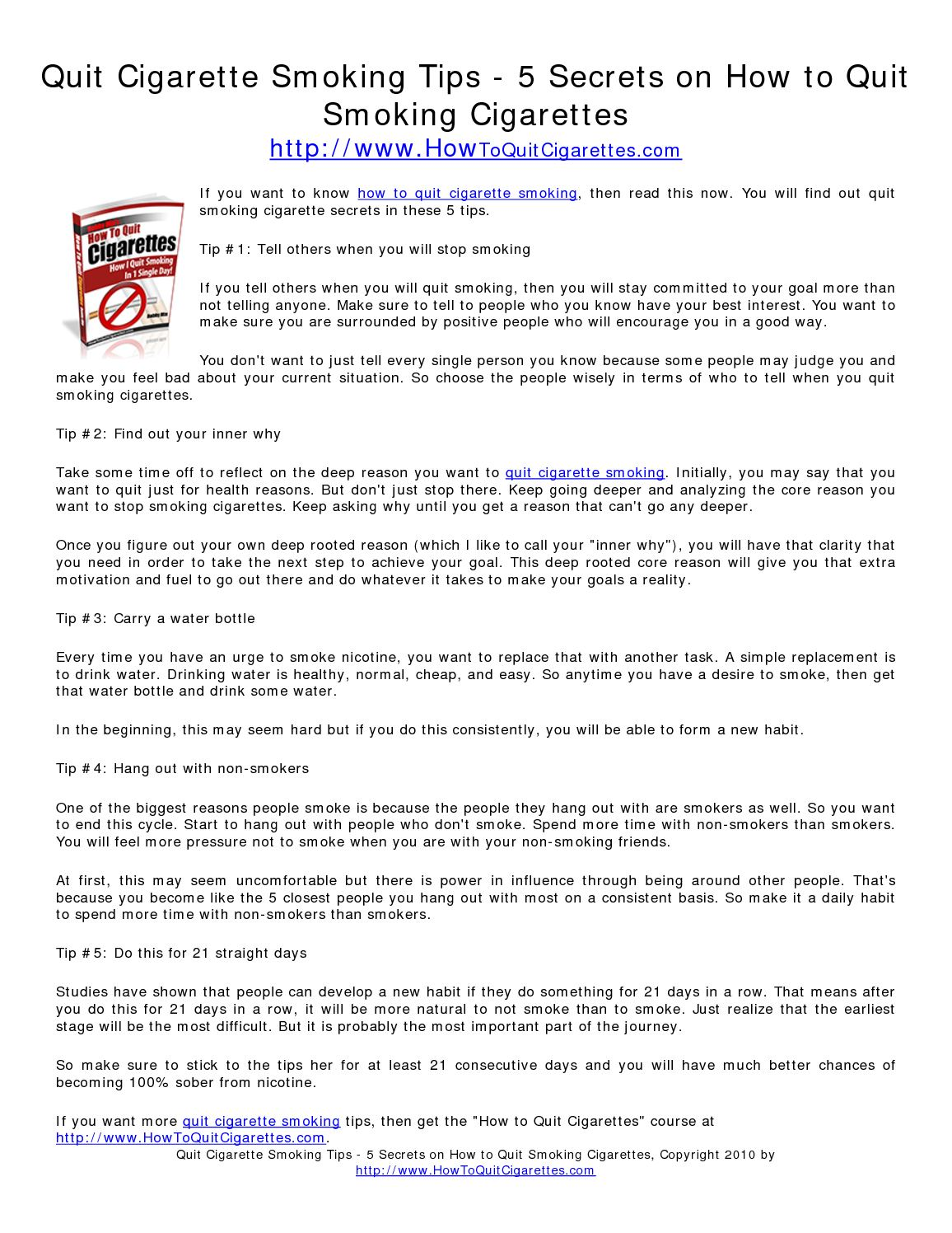 Calaméo - Quit Cigarette Smoking Tips - 5 Secrets on How to