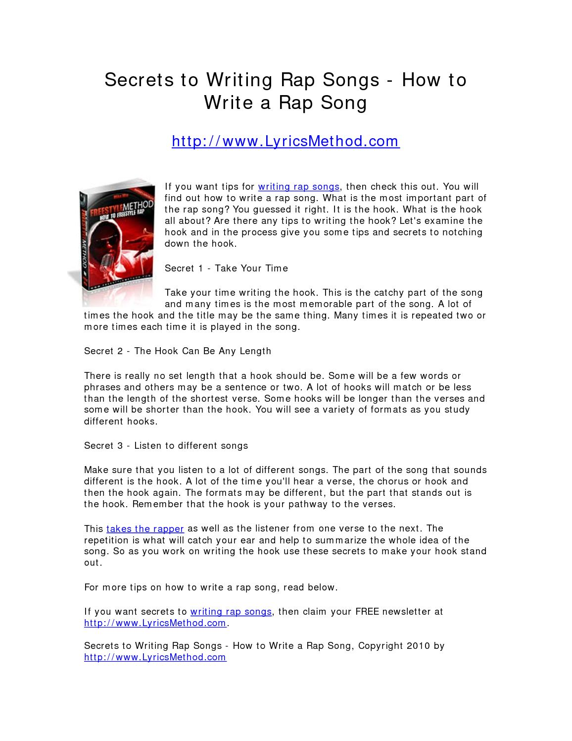 Calaméo - Secrets to Writing Rap Songs - How to Write a Rap Song