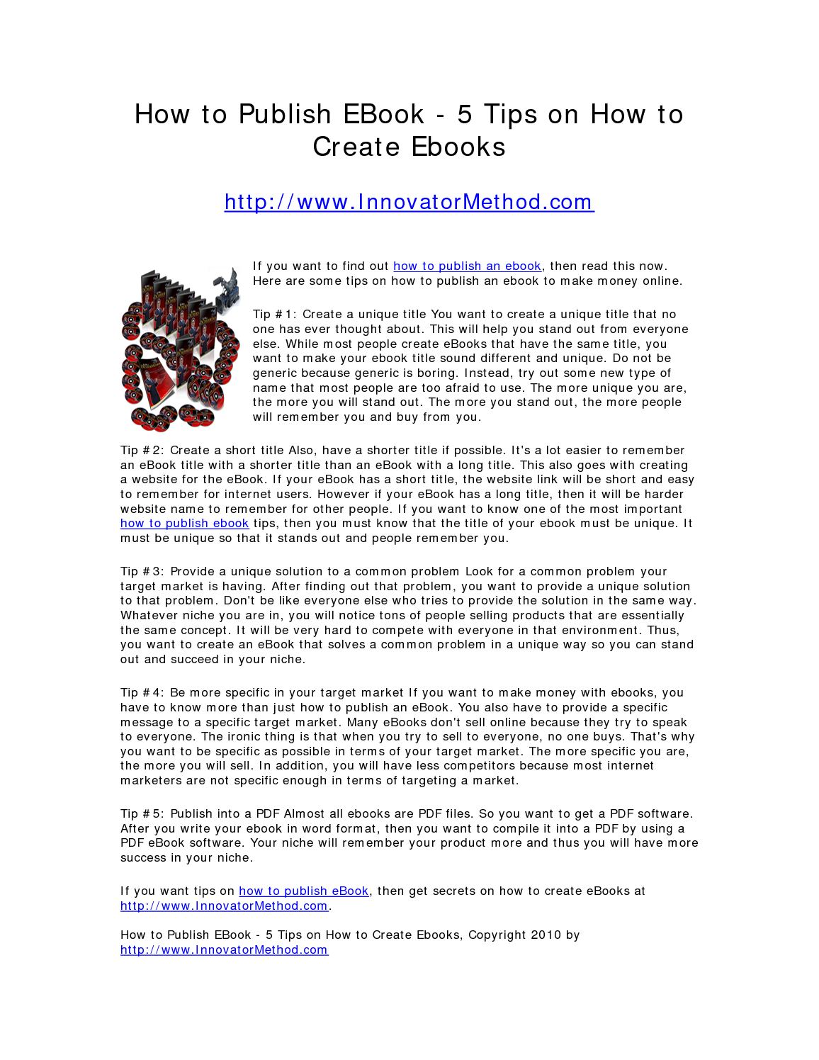 Calaméo - How to Publish EBook - 5 Tips on How to Create Ebooks
