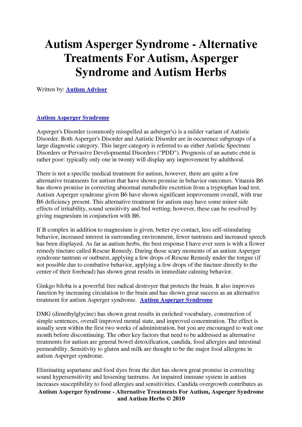 Do Alternative Treatments For Autism >> Calameo Autism Asperger Syndrome Alternative Treatments