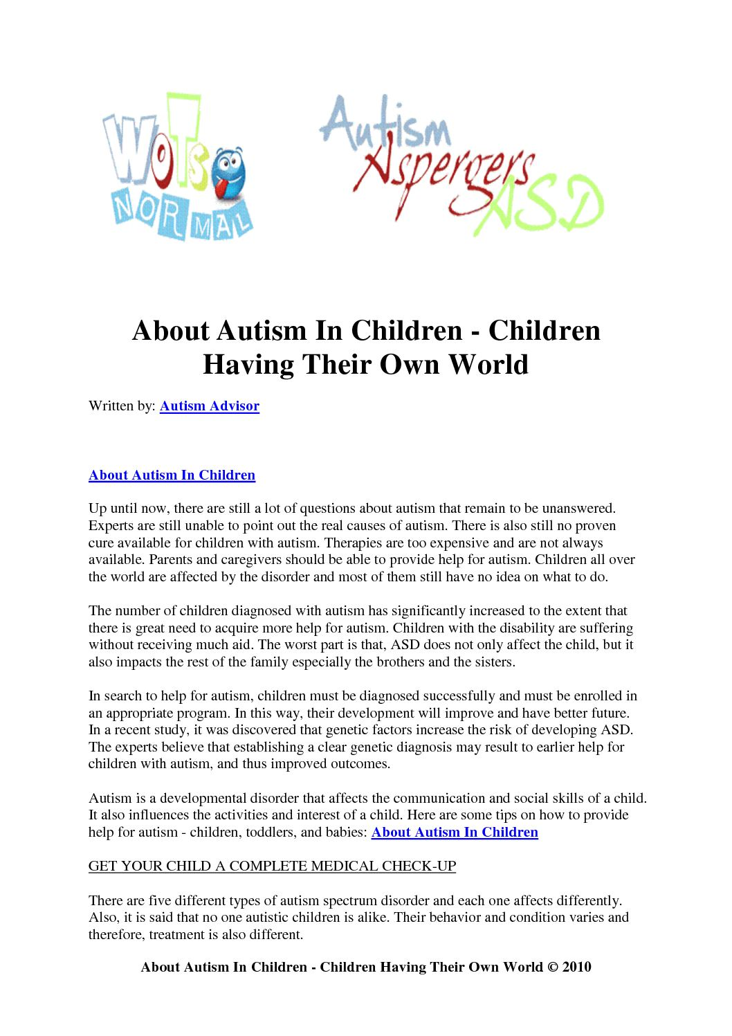 Why No One Needs Diagnosis Of Social >> Calameo About Autism In Children Children Having Their Own World