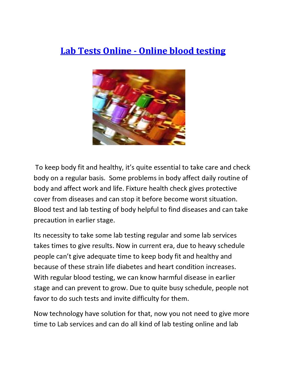 Calaméo - Lab Tests Online - Online Blood Testing