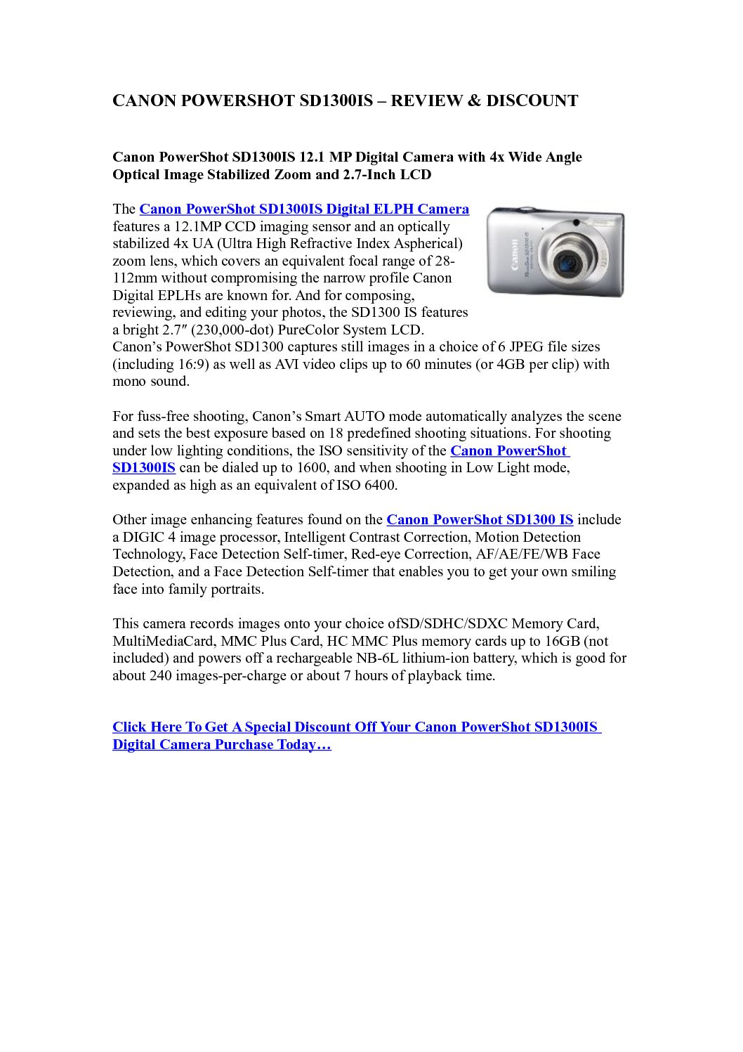 Calaméo - Canon PowerShot SD1300IS - Review & Discount | Best