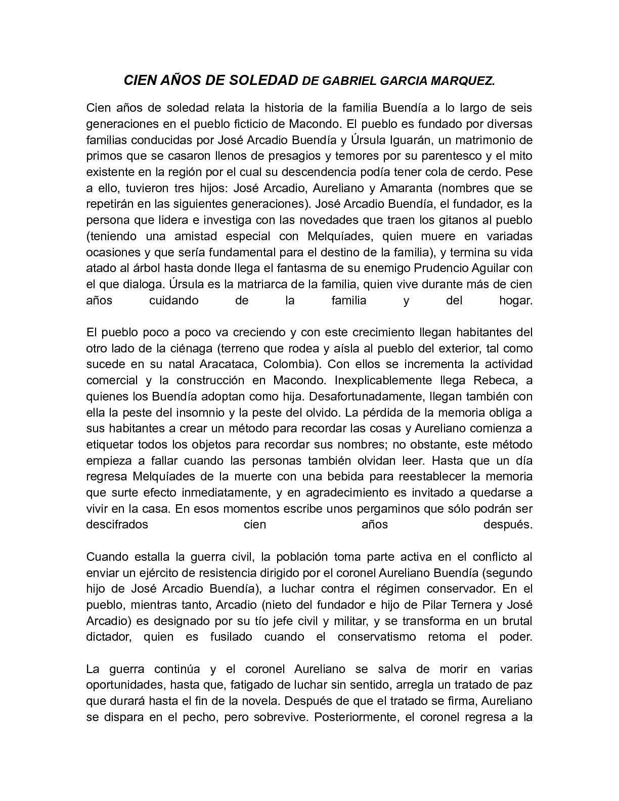 Cien Años De Soledad Historia Publicación Renunciar Pesimista Newtonmarket Org