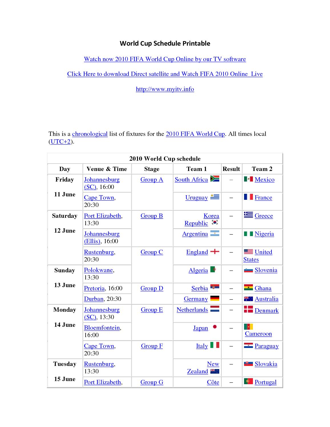 photo regarding World Cup Printable Schedule identify Calaméo - World wide Cup Agenda Printable