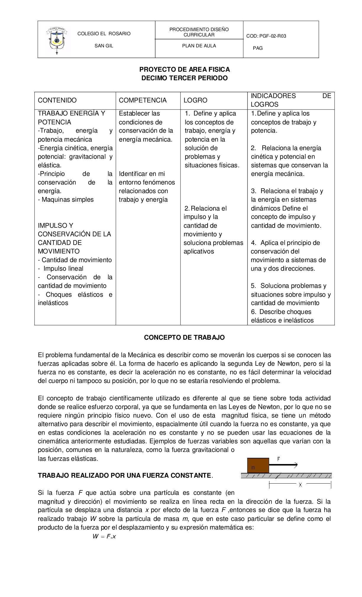 PROYECTO DE AREA FISICA DECIMO