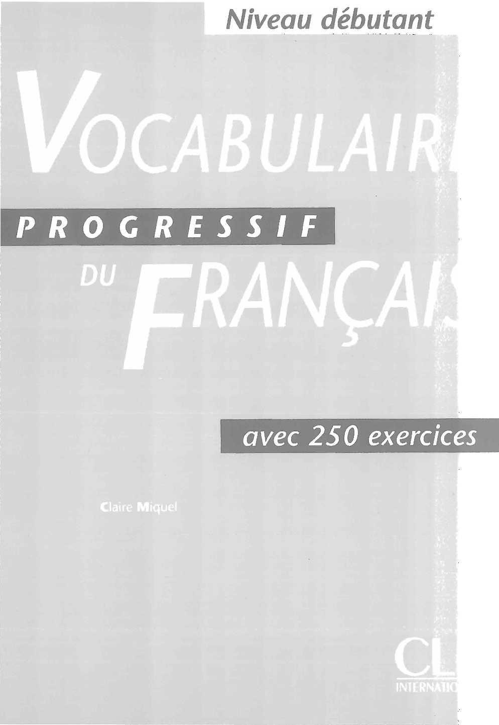Vocabulaire Progressif Du Francais Debutant Livre Corriges
