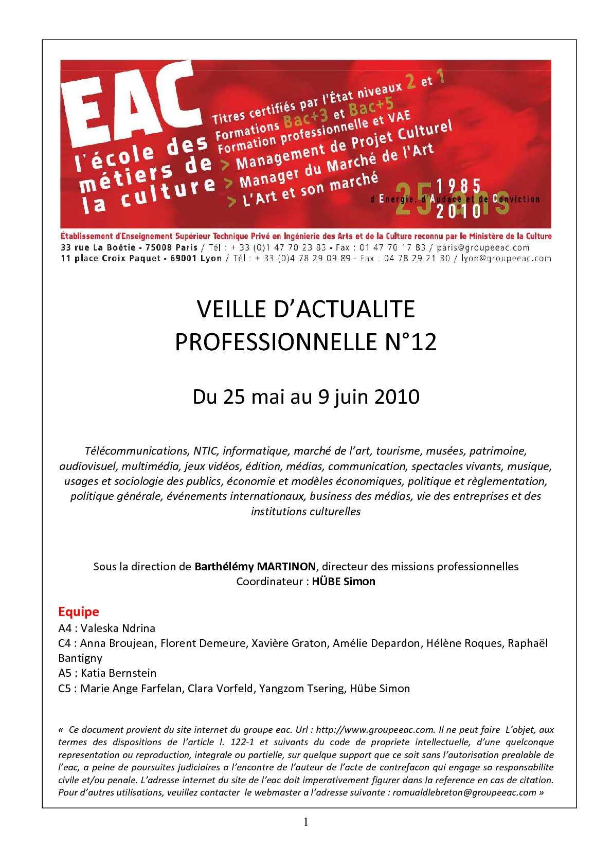 f3690954f3bfdb Calaméo - EAC   2009-2010   Veille d actualité professionnelle n°12    25 05 10 - 09 06 10