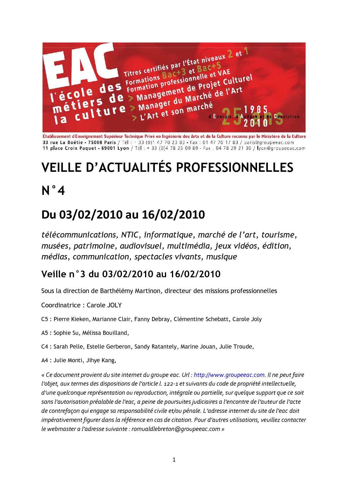 Calaméo - EAC   2009-2010   Veille d actualité professionnelle n°4    03 02 10 - 16 02 10 2cef7551b186