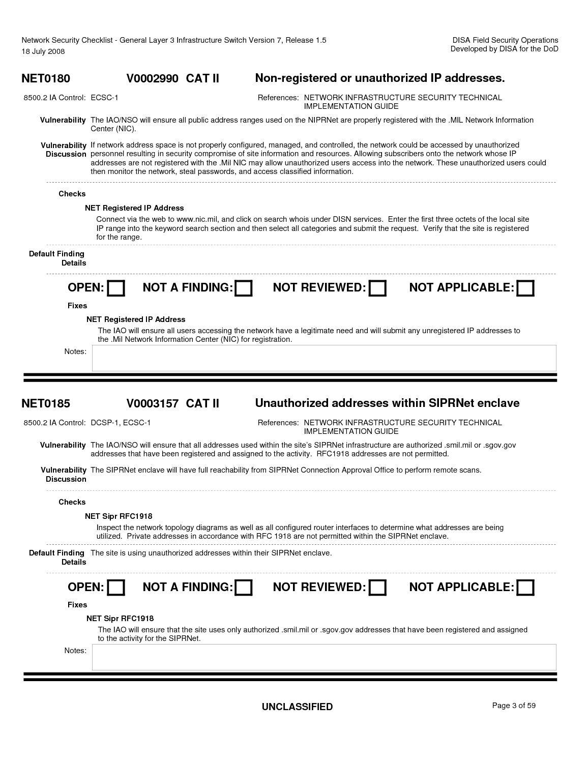 Network Security Checklist - General Layer 3 Infrastructure