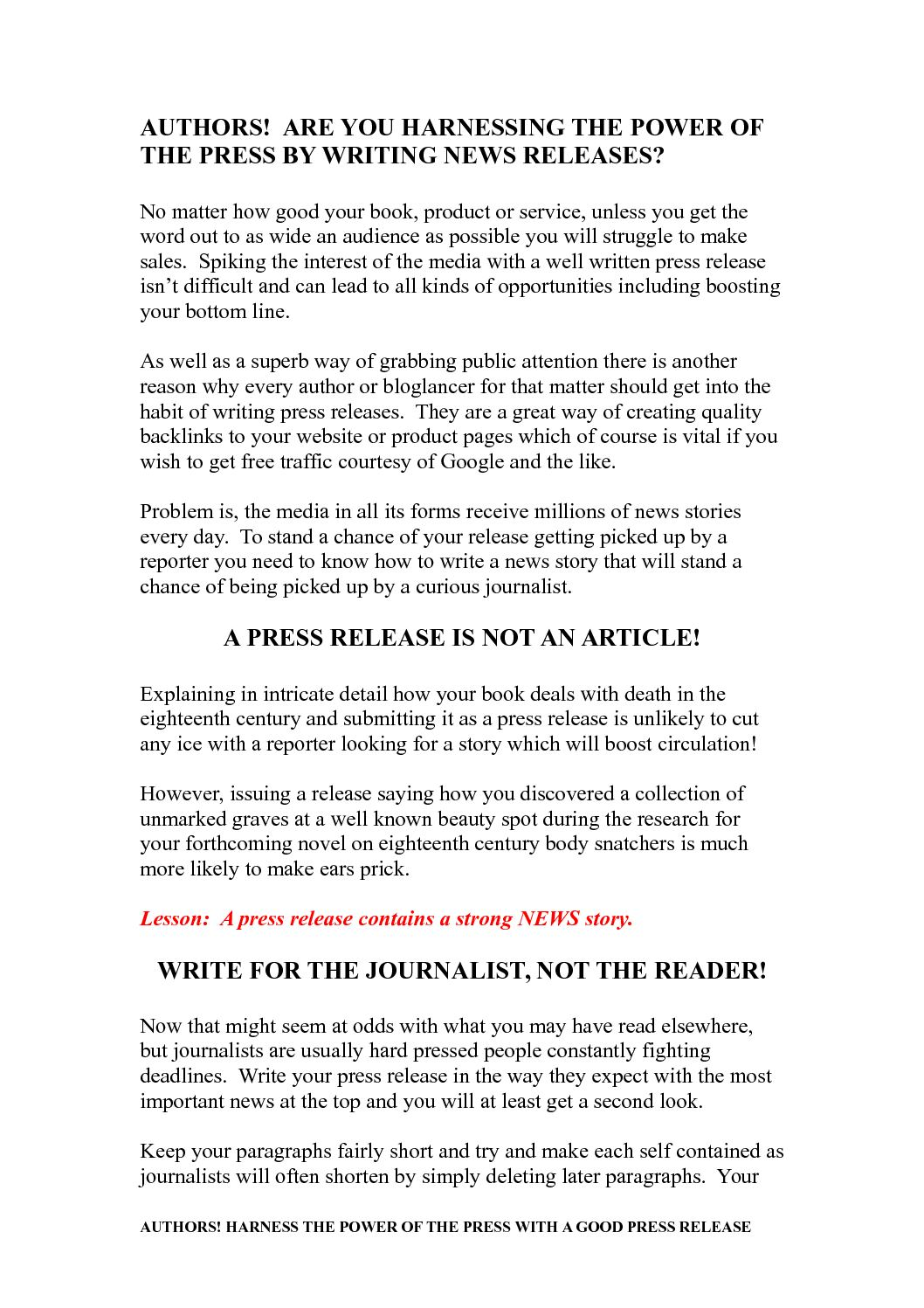 book signing press release