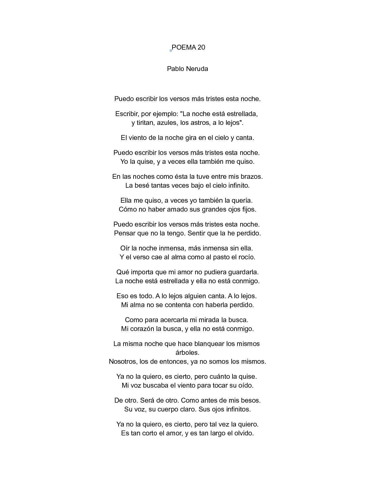 Calaméo Poema 20 De Pablo Neruda