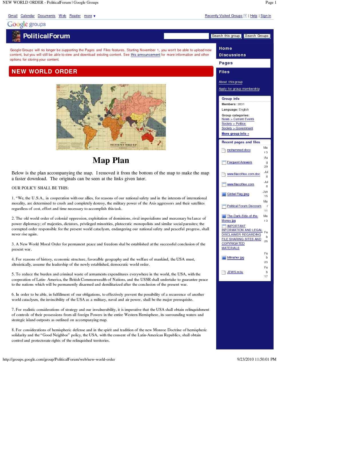 Calam O NEW WORLD MORAL ORDER PoliticalForum Google