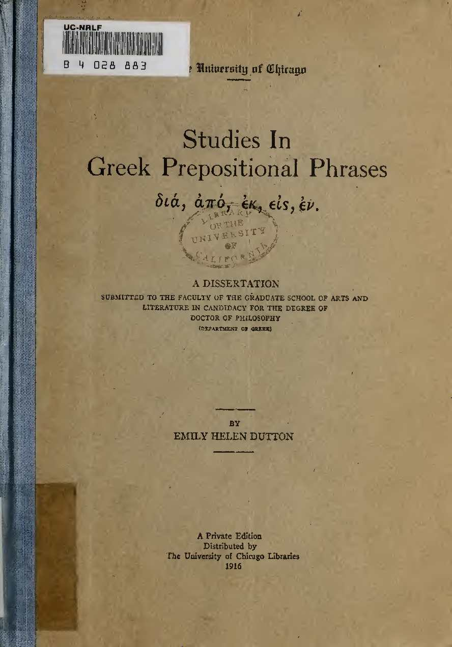 Calam O Stu S In Greek Prepositional Phrases