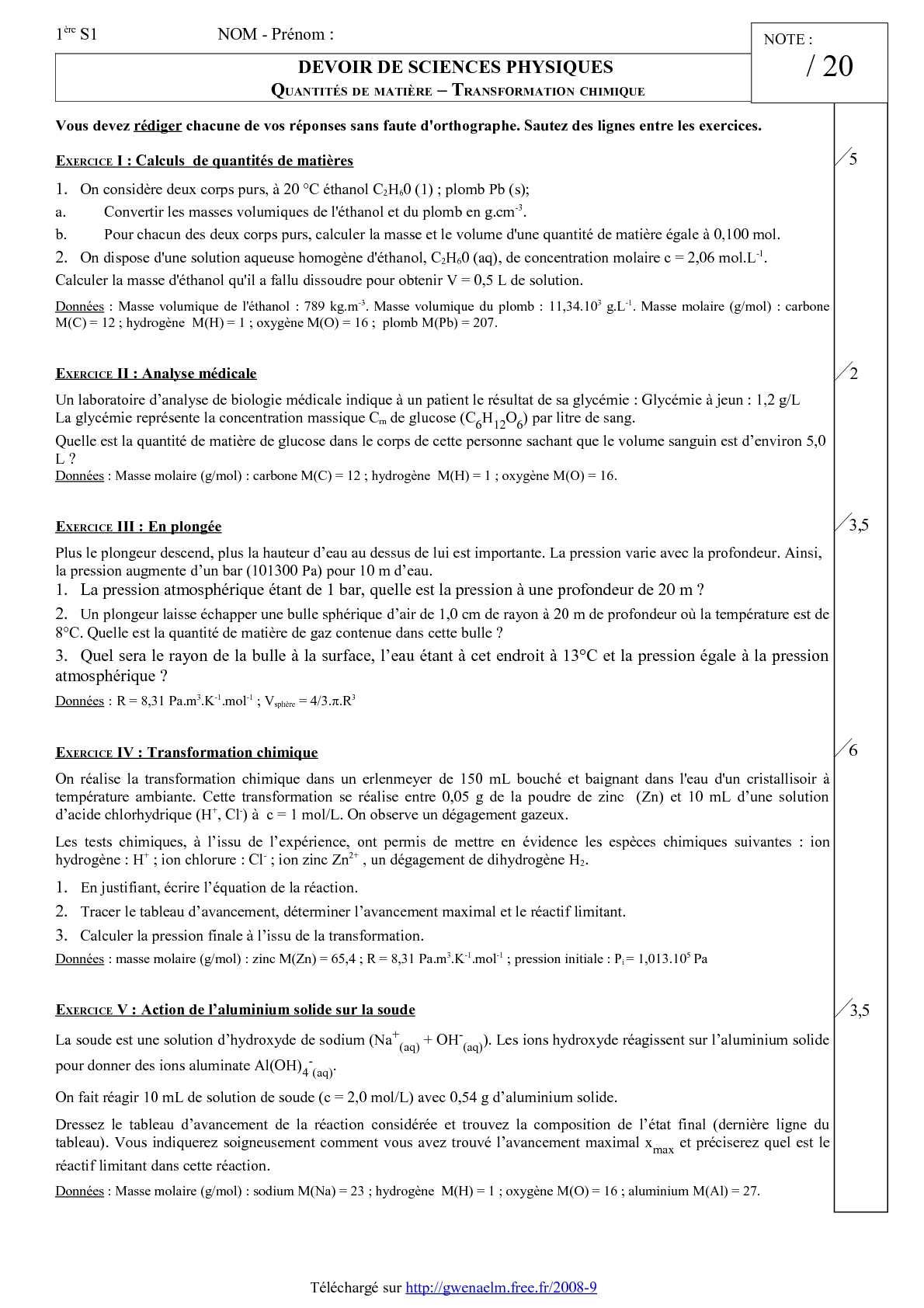 Calameo Ds 1 Premiere S Quantite De Matiere Transformation Chimique