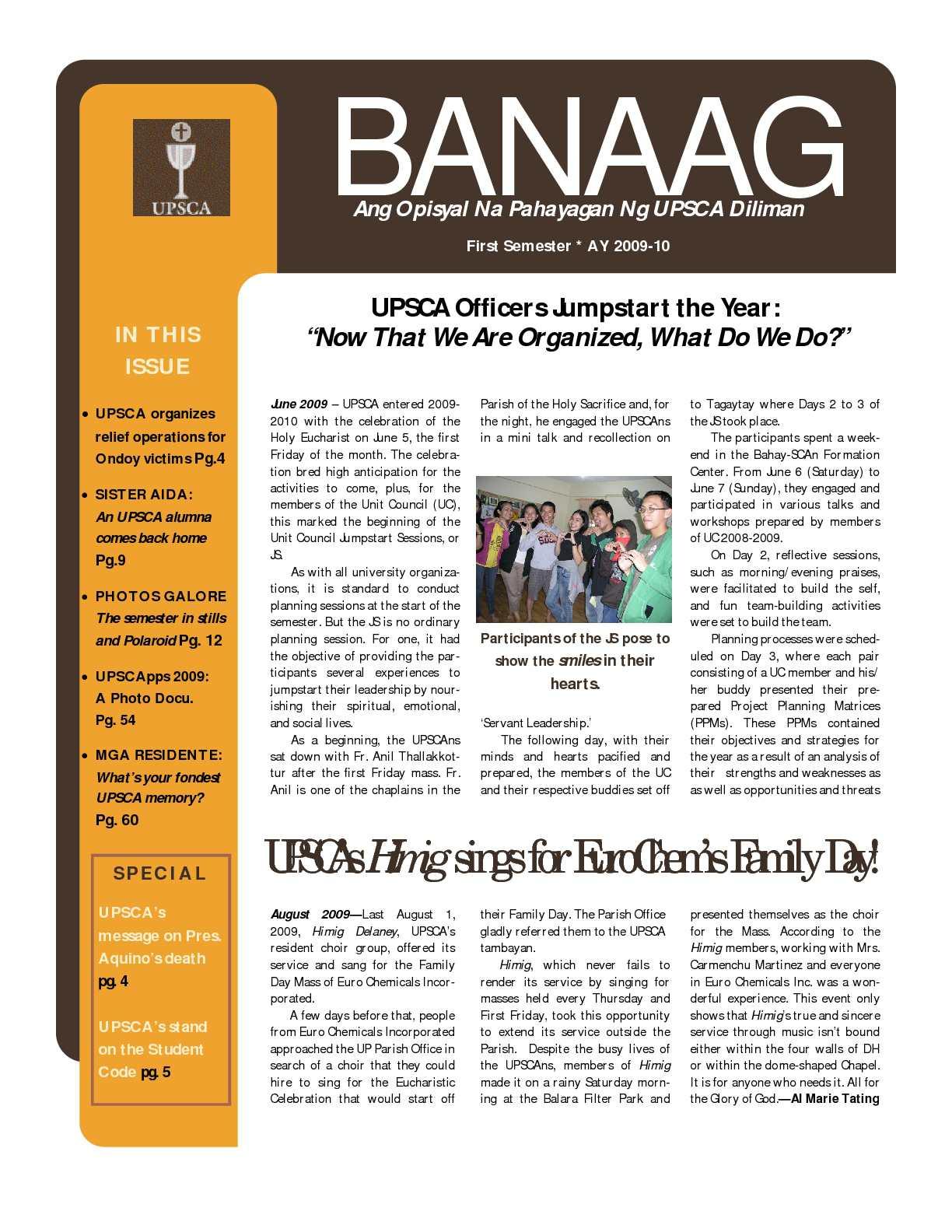 Calaméo - The BANAAG 1st Issue (1st Sem AY2009-2010)