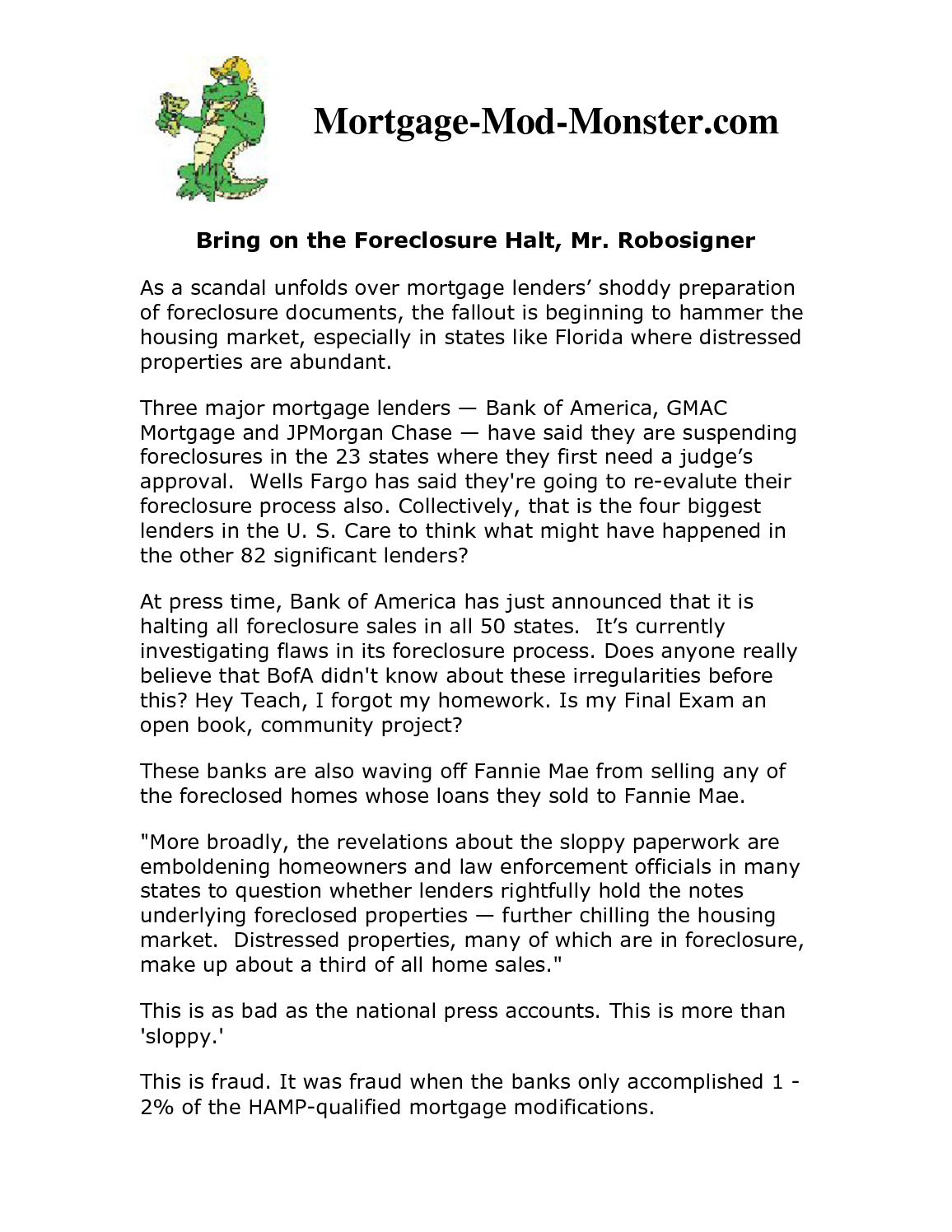 Calaméo - Bring on the Foreclosure Halt, Mr  Robo-signer