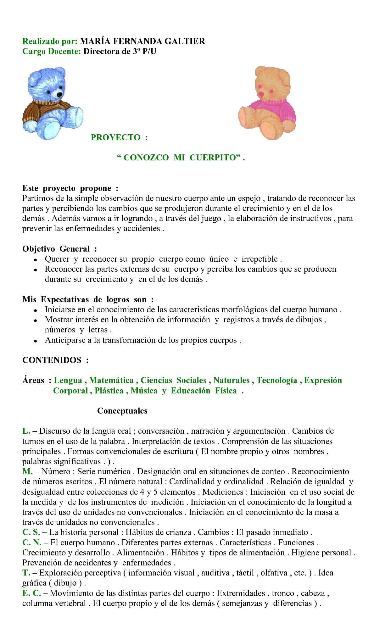 Calaméo - Proyecto: Conozco mi cuerpito (Nivel Inicial