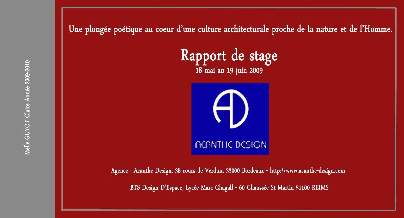 Calaméo Rapport De Stage 2009