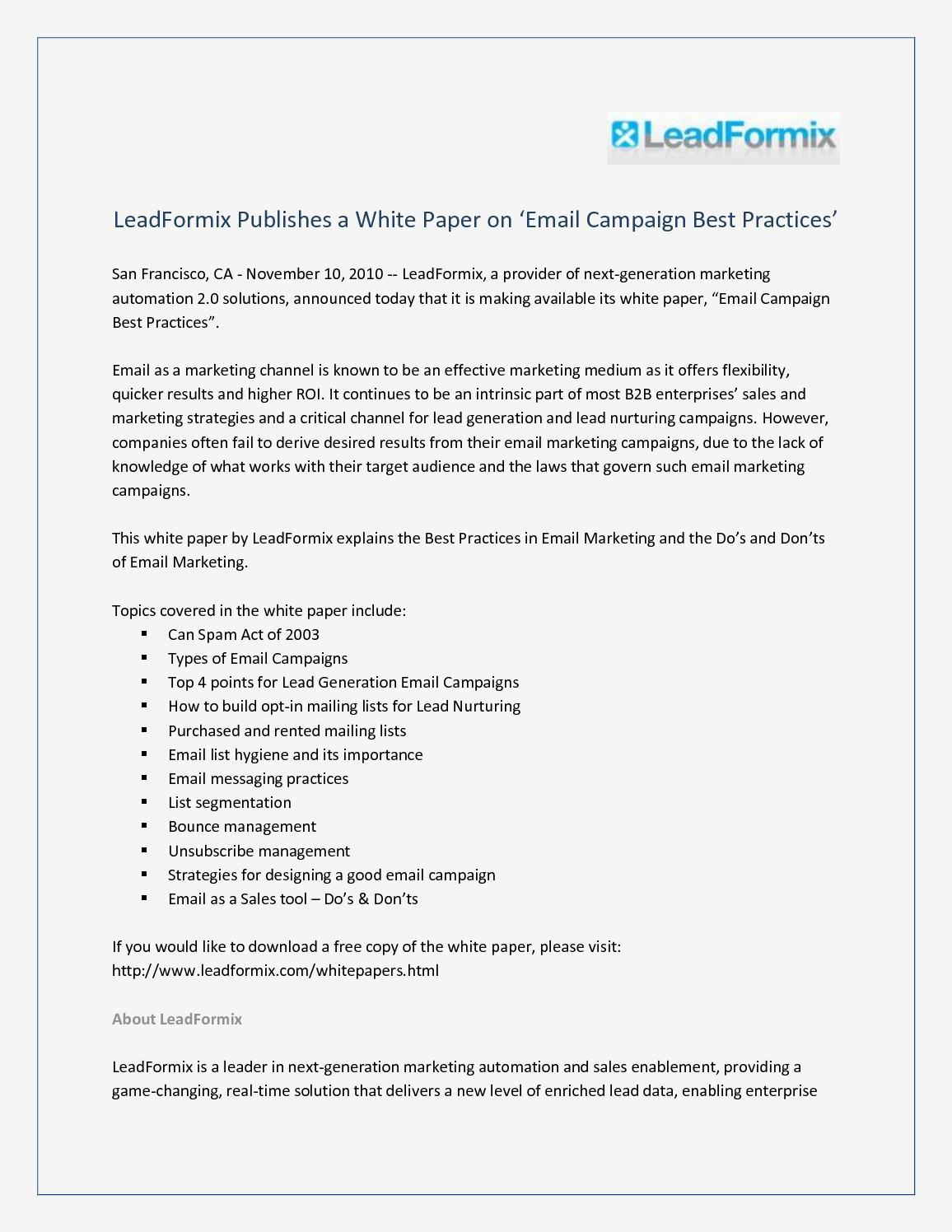 Calaméo Leadformix Publishes A White Paper On Email