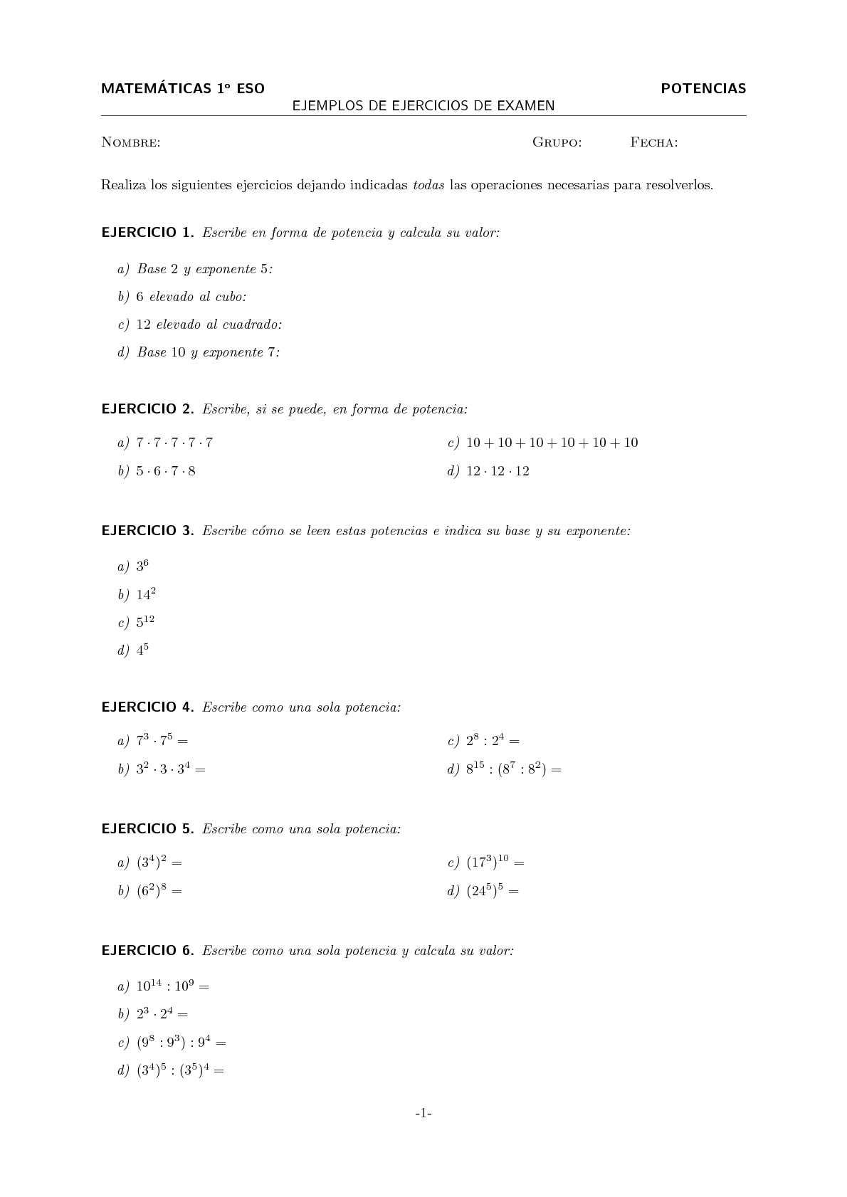 ejercicios de potencias 1 eso pdf
