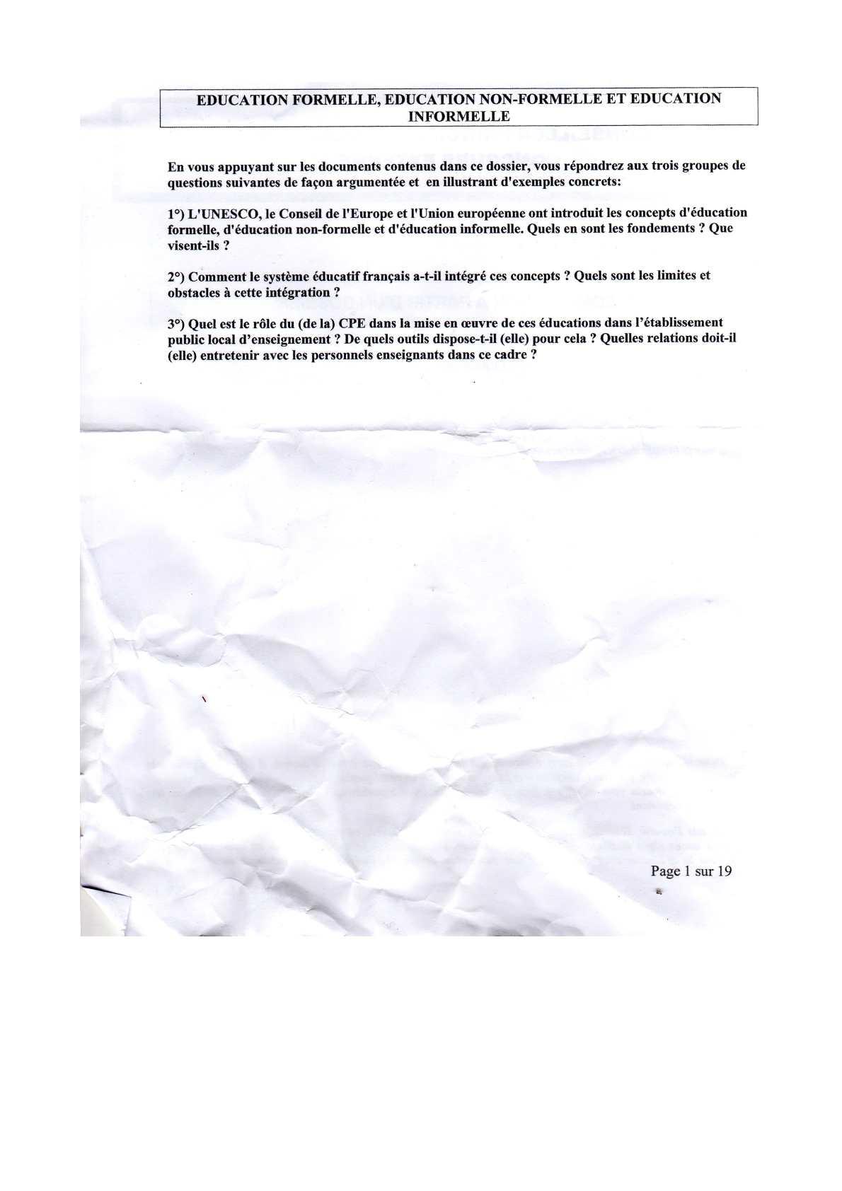 Composition du concours CPE session 2011