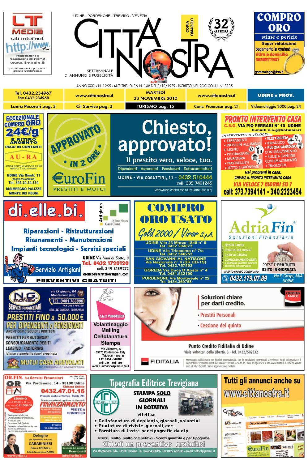 Calaméo - Città Nostra Udine del 23.11.2010 n. 1255 2d5f0a0fd4c