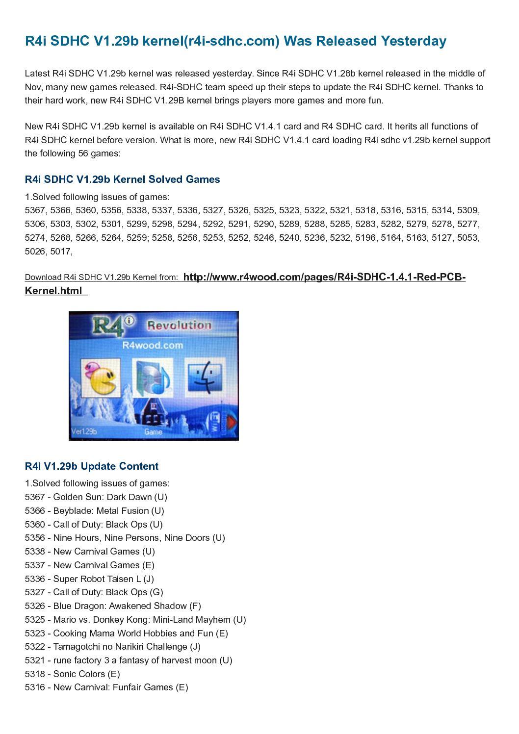 Calaméo - R4i SDHC 1 29b kernel (www r4i-sdhc com) Released for R4I