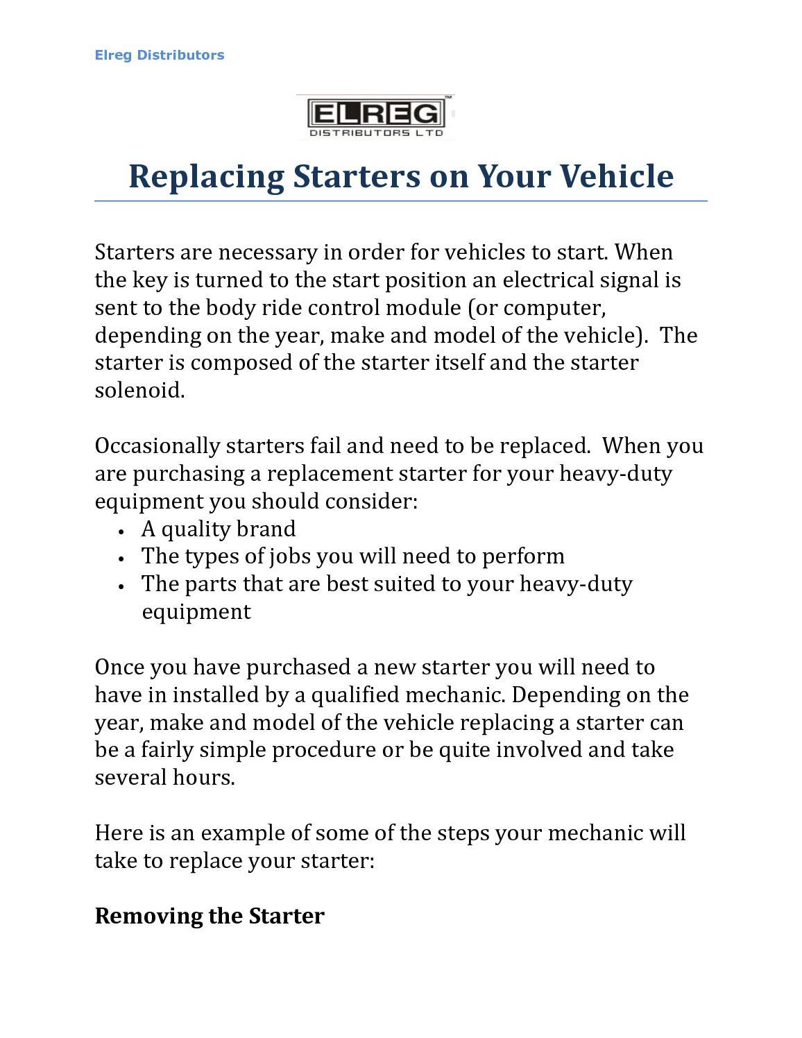 Calaméo - Replacing Starters on Your Vehicle