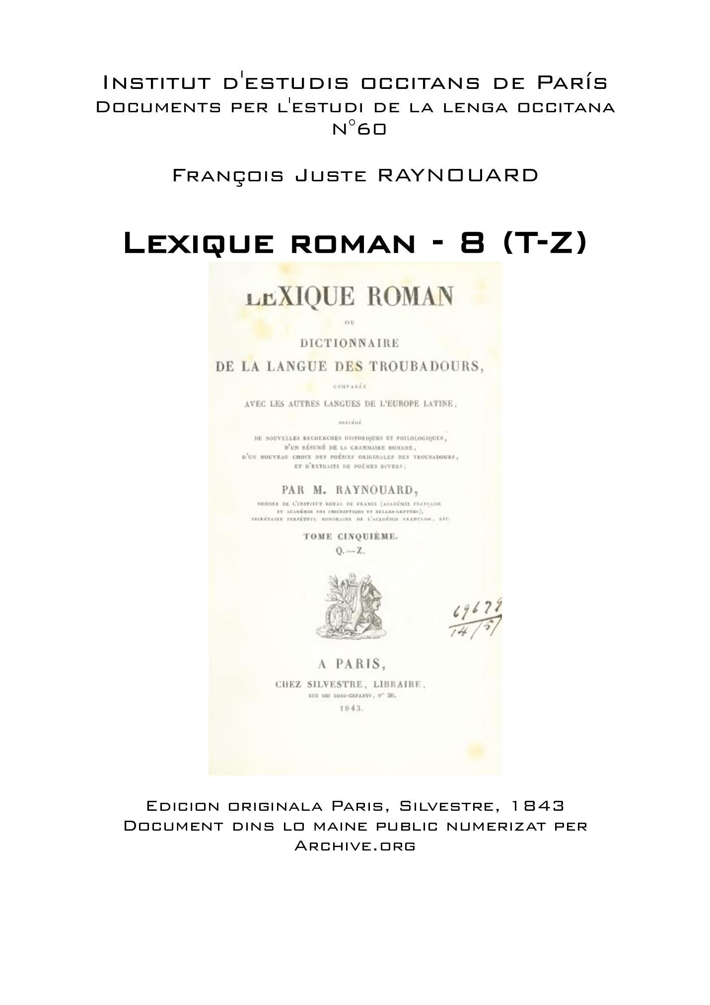 Z Lexique François Roman 8t Calaméo Juste Raynouard 4LA35Rj