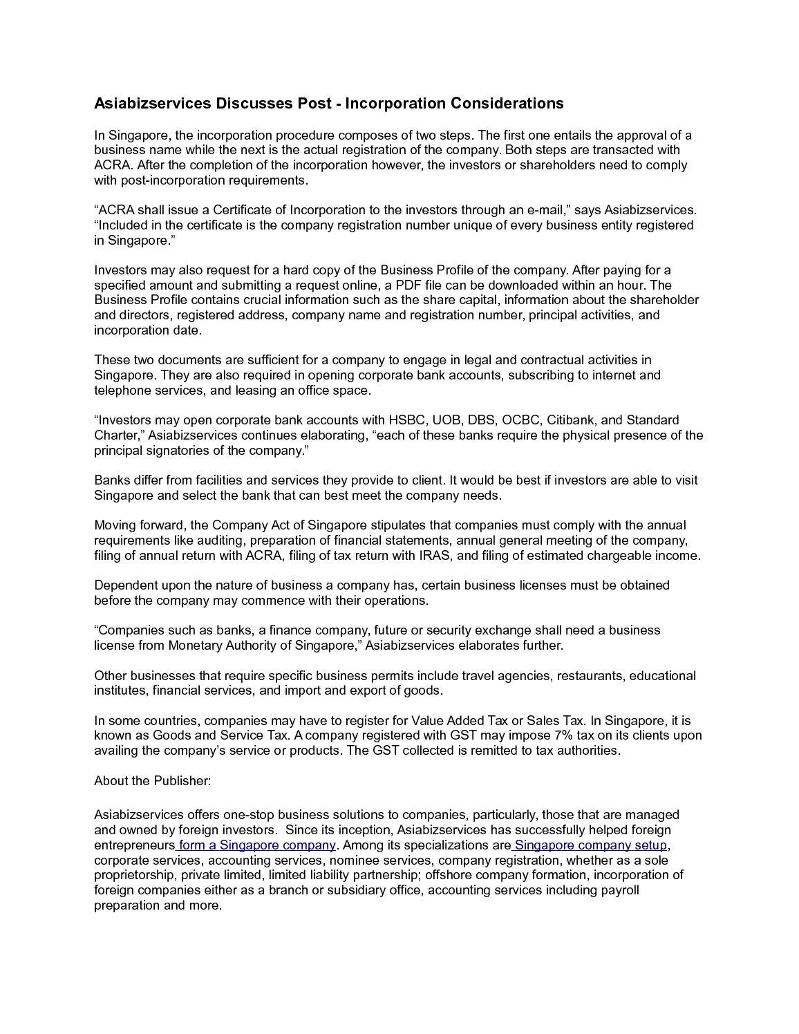 Calaméo - Asiabizservices Discusses Post - Incorporation