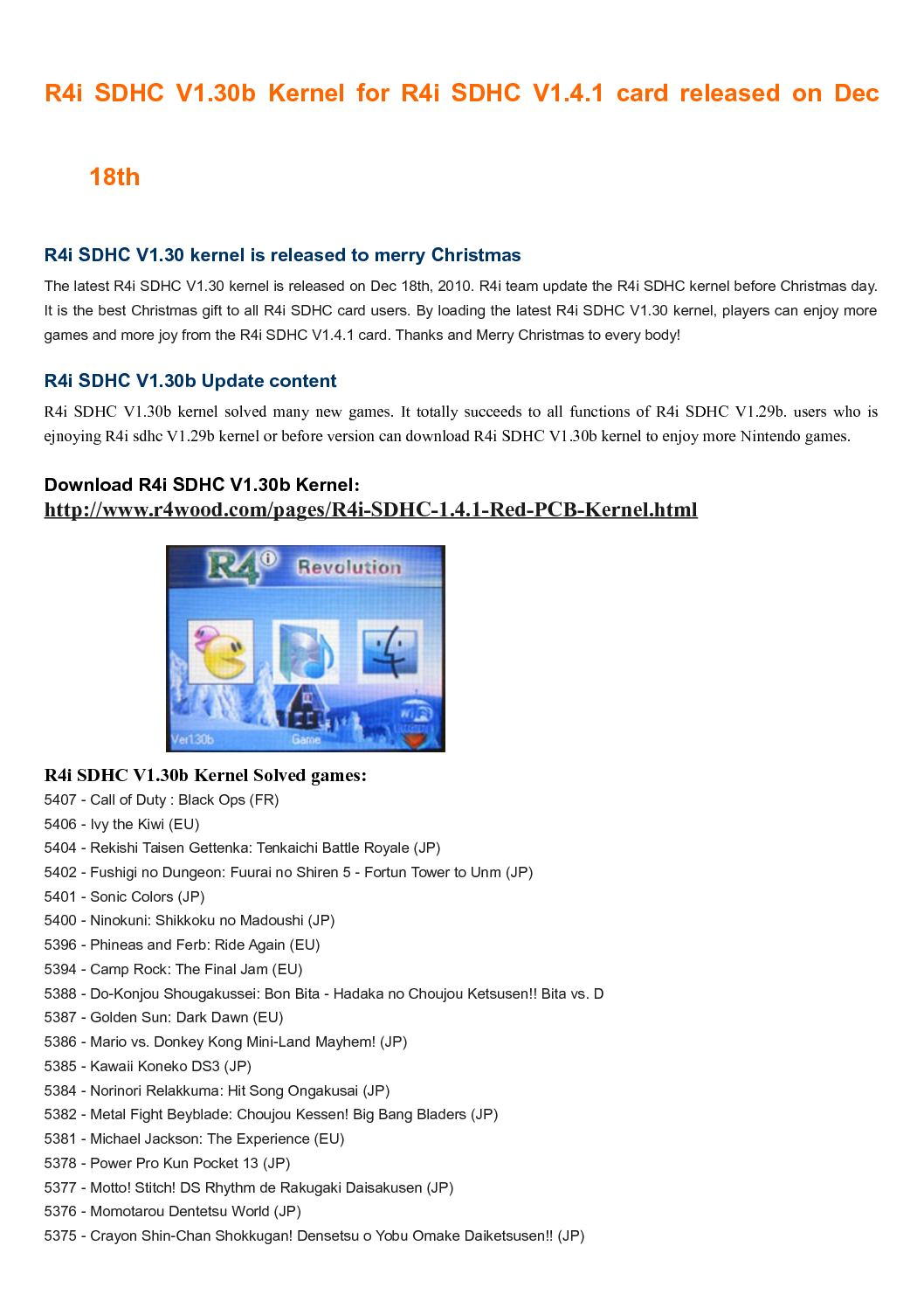 Calaméo - Latest R4i SDHC V1 30b kernel support more games in R4i