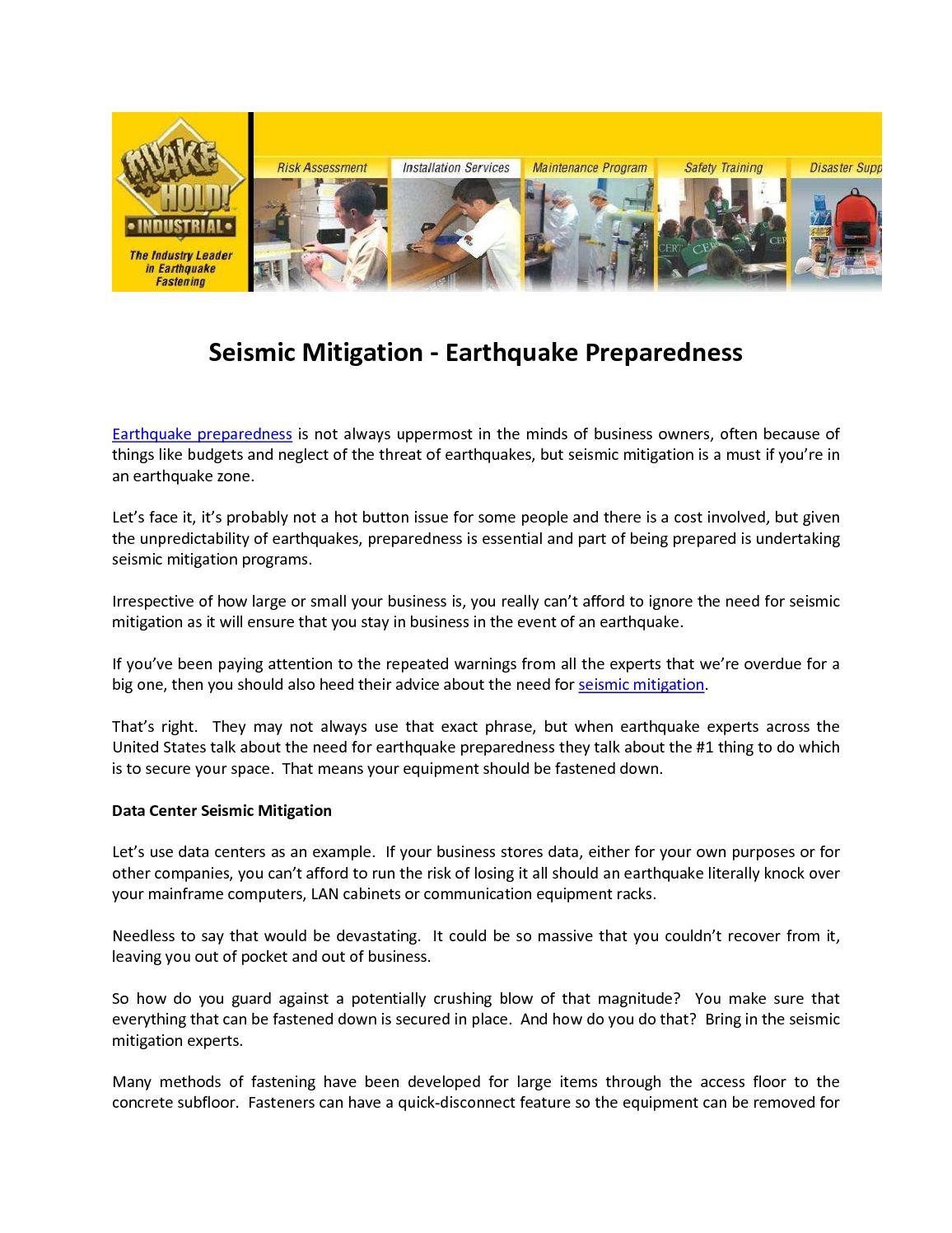 Calaméo   Seismic Mitigation   Earthquake Preparedness