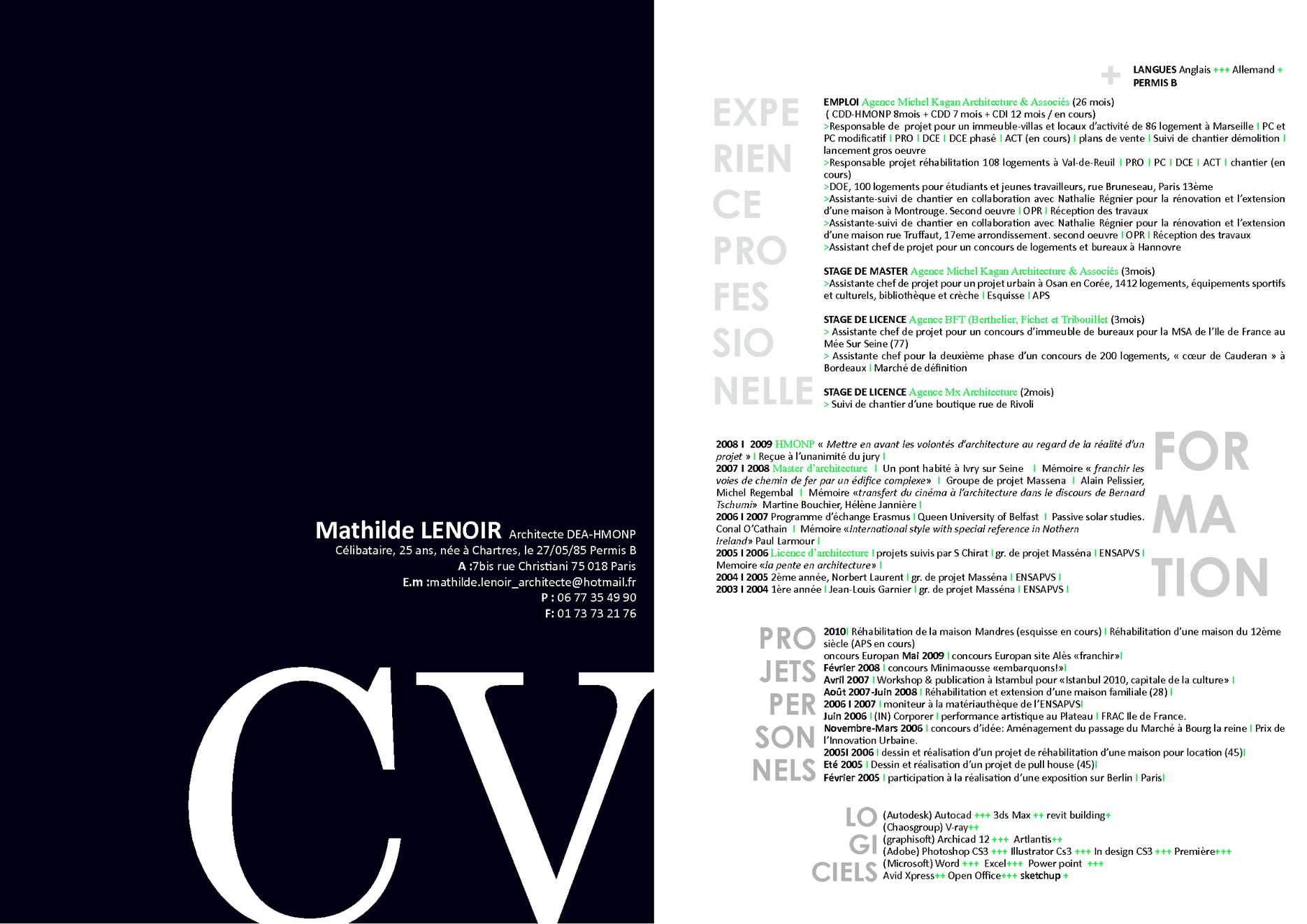 D Gbfv Cv: CV _ LENOIR Mathilde Architecte