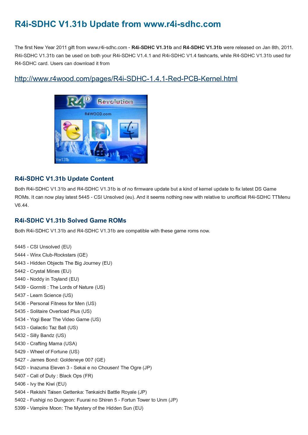 Calaméo - R4i SDHC V1 31b kernel for R4i SDHC V1 4 1 card