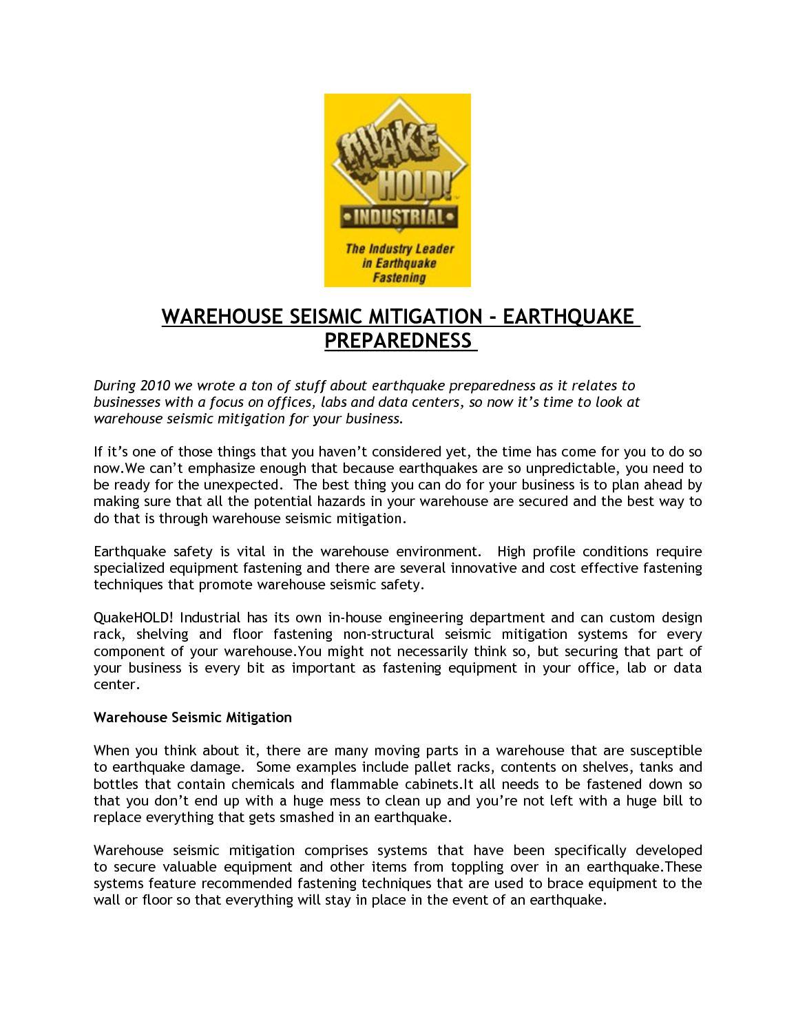 Calaméo   WAREHOUSE SEISMIC MITIGATION   EARTHQUAKE PREPAREDNESS