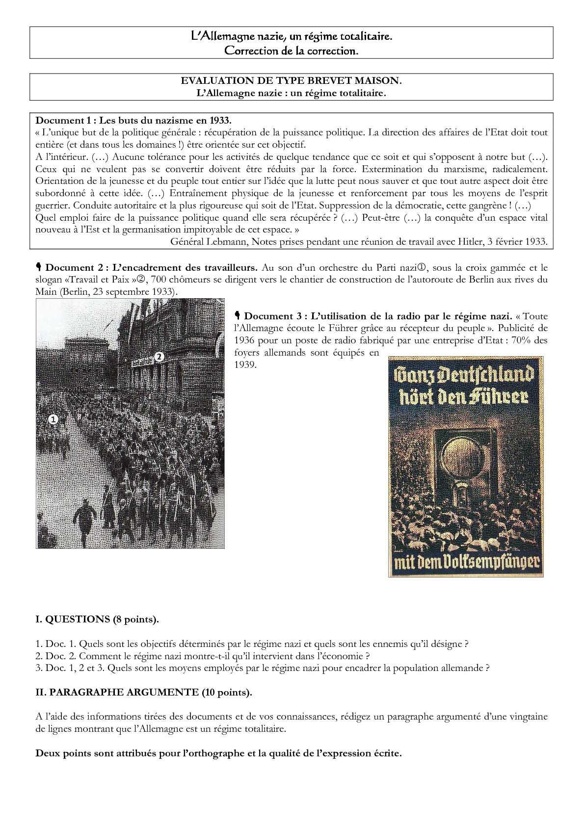 paragraphe argumente sur l allemagne nazie un etat totalitaire