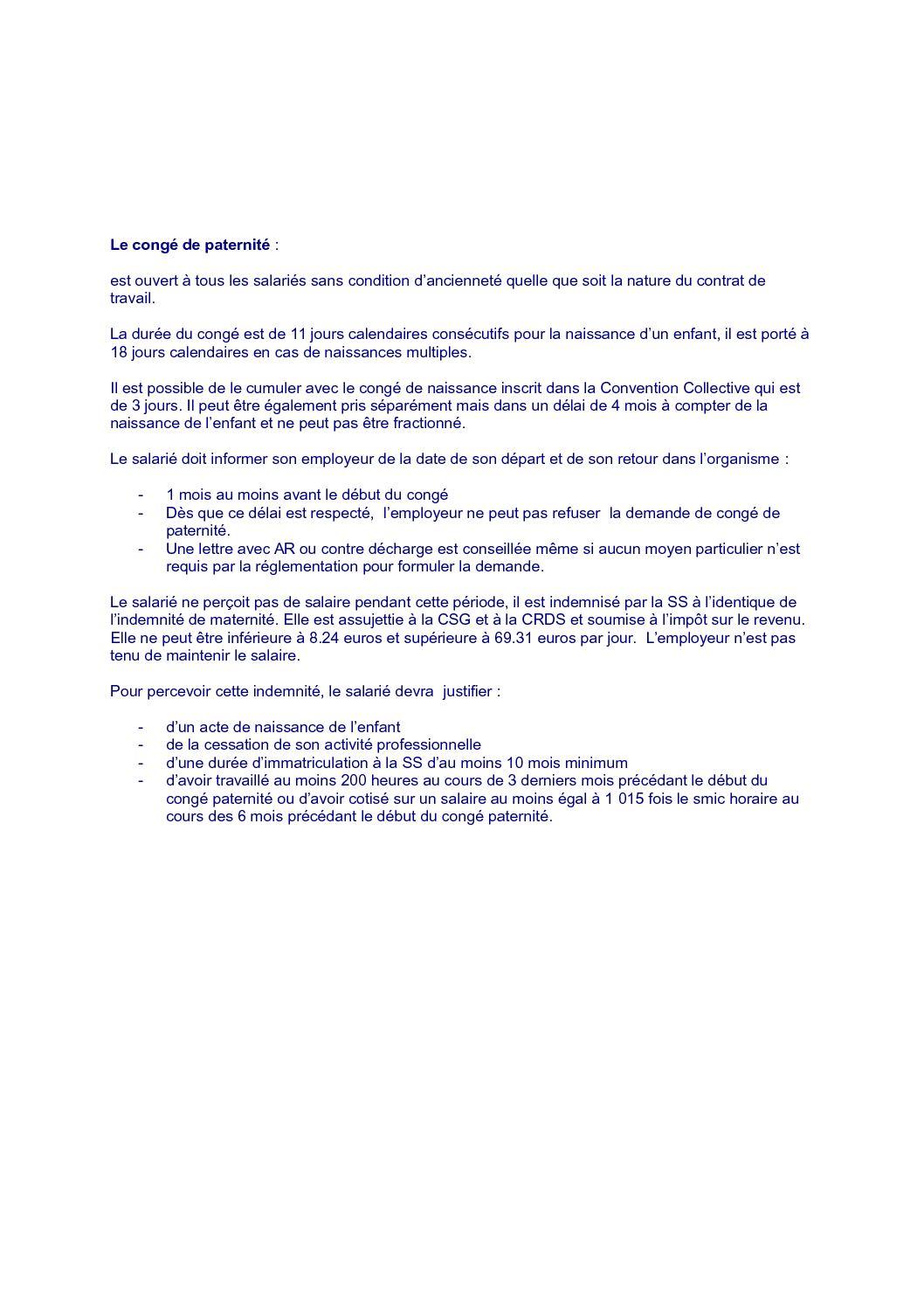 Exemple Lettre Demande De Congé Paternité 11 Jours - Le Meilleur Exemple