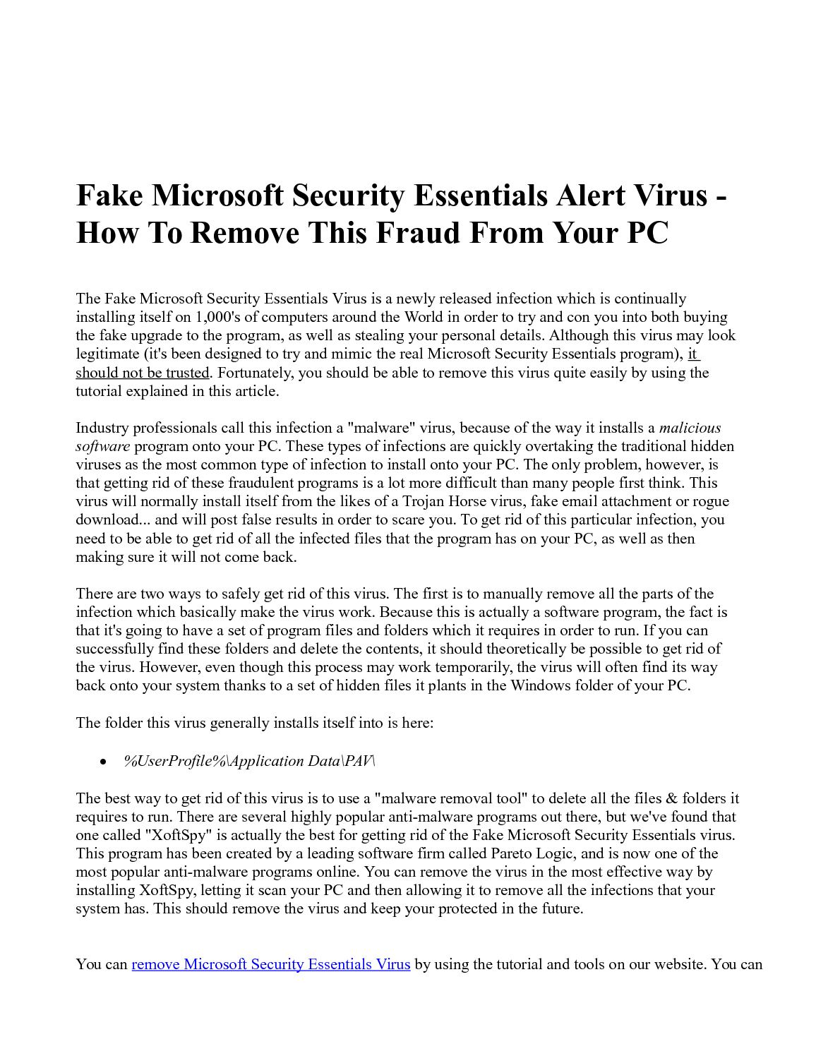 Calaméo - Fake Microsoft Security Essentials Alert Virus docx