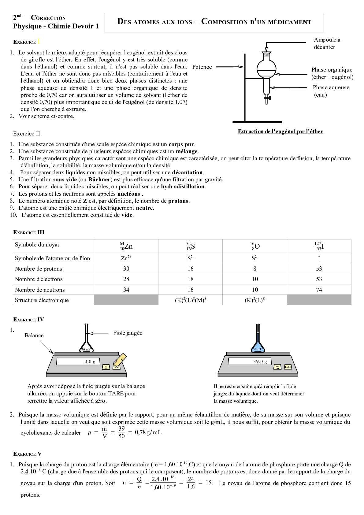 Calameo Ds 1 Seconde Des Atomes Aux Ions Composition D Un Medicament Le Corrige Version 2