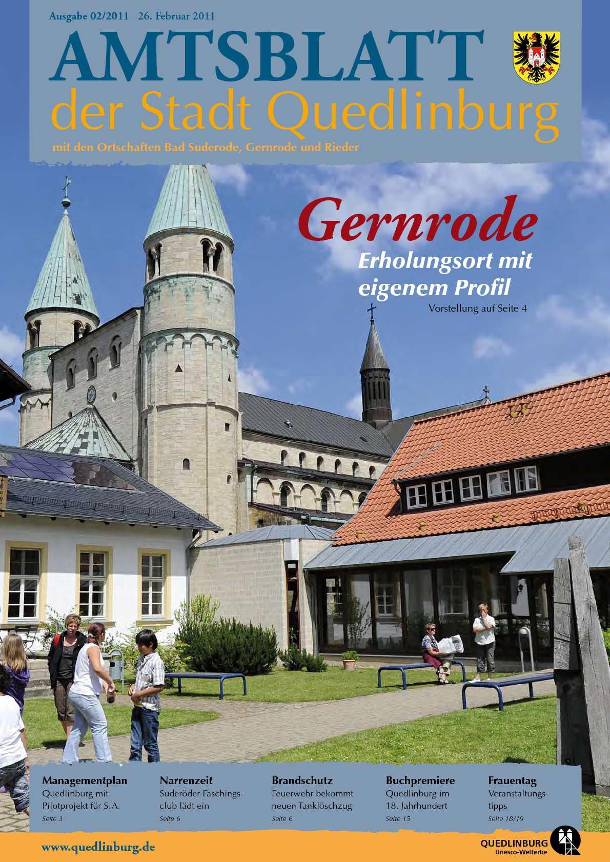 Calameo Amtsblatt 02 2011 Der Stadt Quedlinburg Mit Den