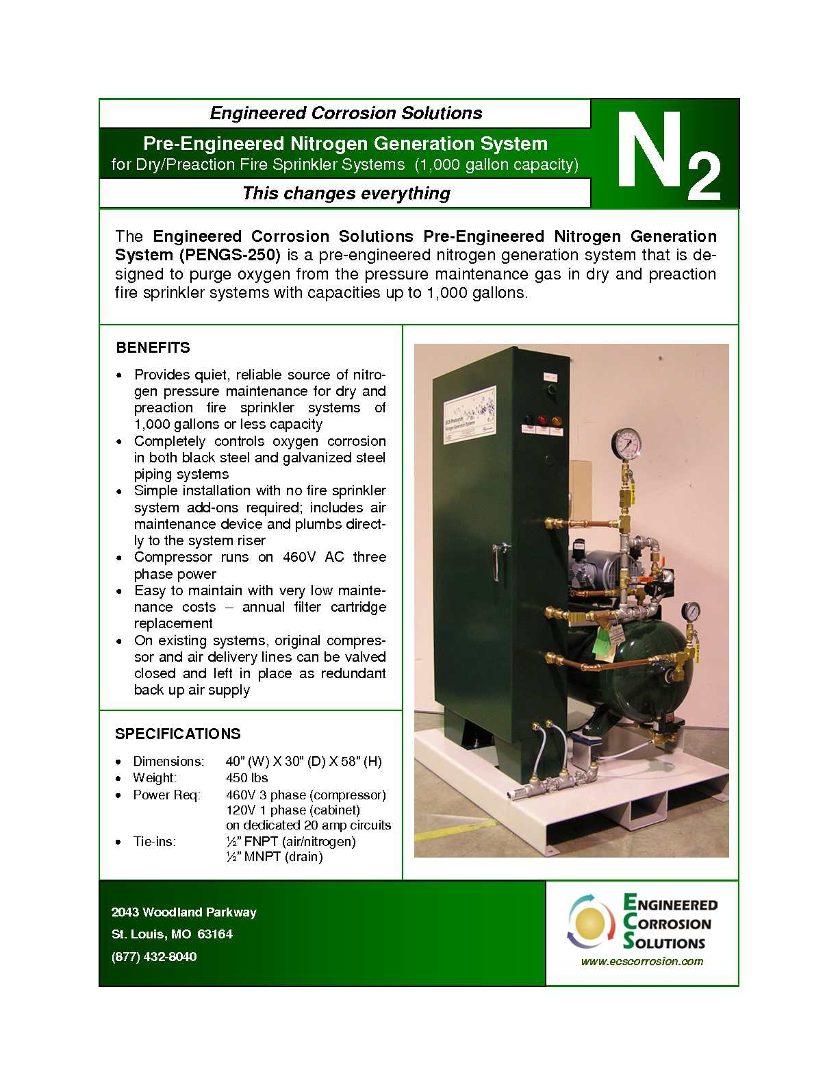 Calamo Pengs 250 Engineered Corrosion Solutions Pre Ampcircuits Nitrogen Generator For Dry And Preaction Fire Sprinkler Systems