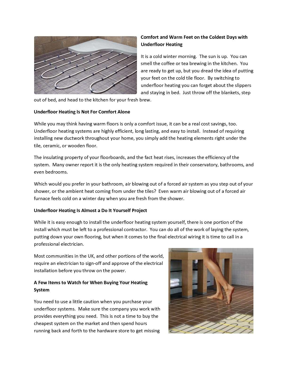 Calameo Providing Comfort And Warm Feet On The Coldest Days With Underfloor Heating