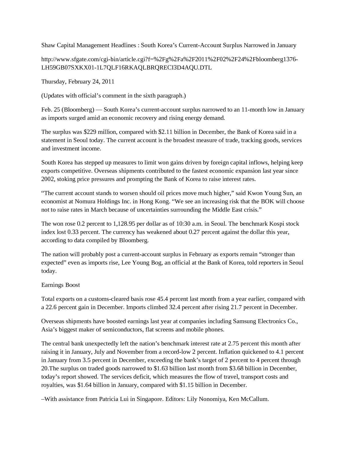 Calaméo - Shaw Capital Management Headlines : South Korea's