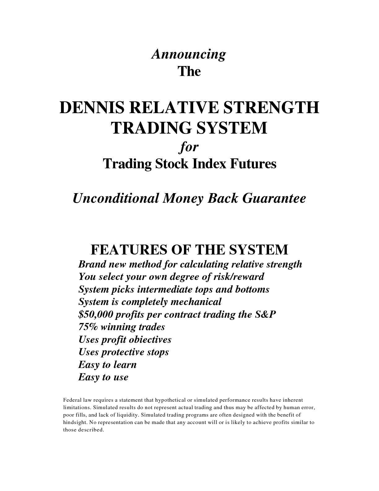Index future trading system