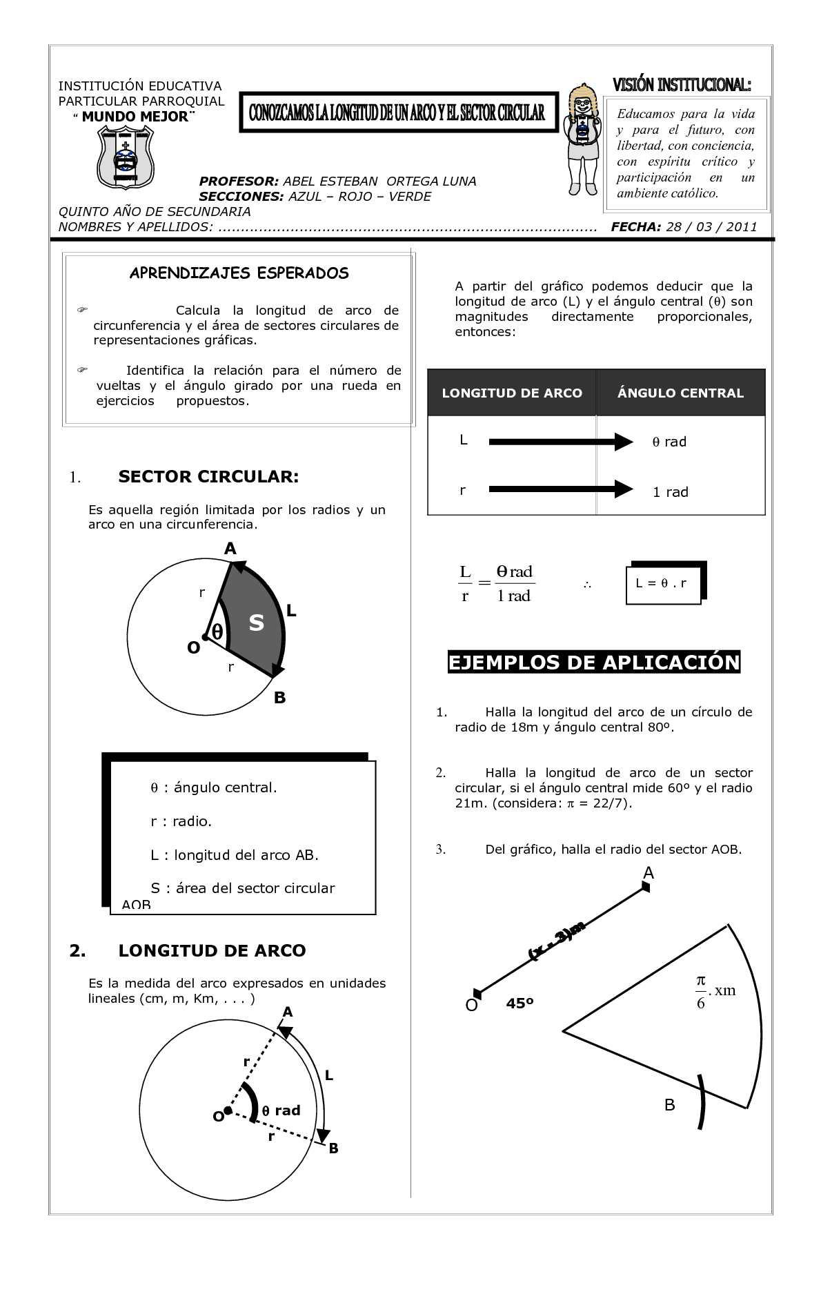 ejercicios de trapecios circulares
