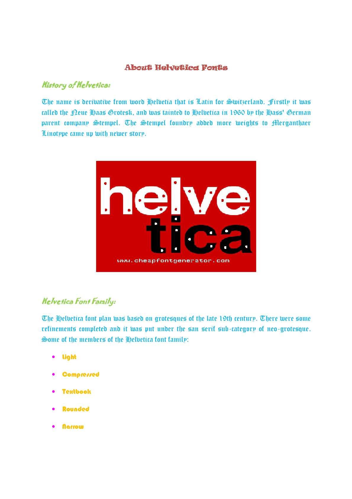 Calaméo - About Helvetica Fonts