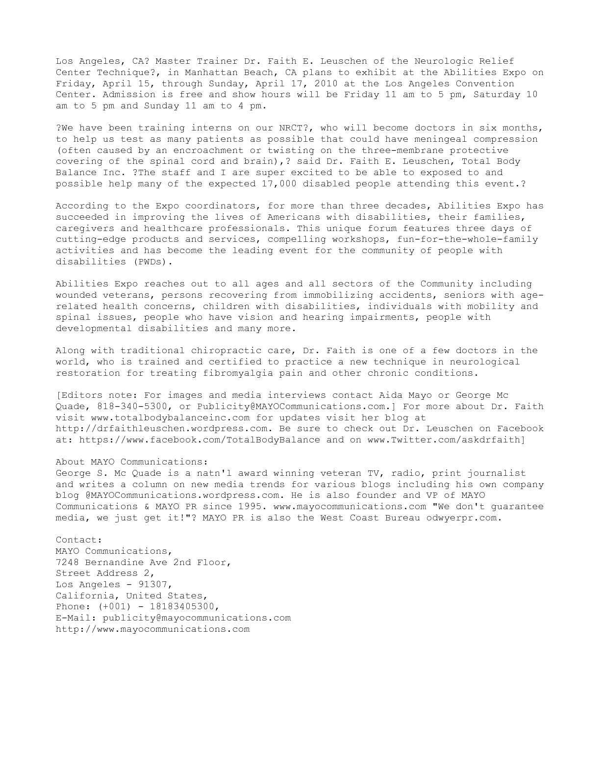 Calaméo - Dr  Faith E  Leuschen, Total Body Balance Inc , to