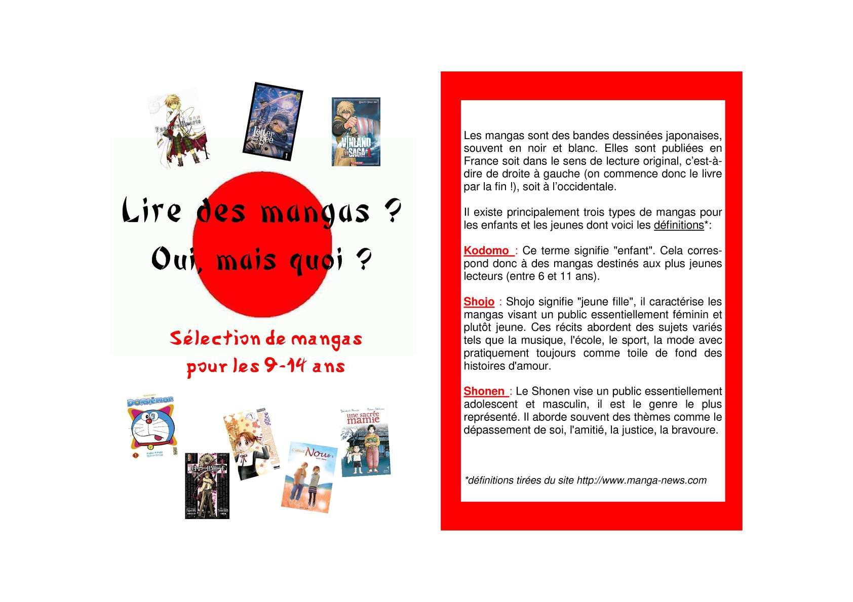 Calameo Selection De Mangas Pour Les 9 14 Ans